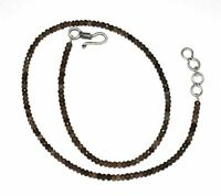 """Natural Smoky Gemstone 3-4 mm Rondelle Faceted Beads 17"""" Strand Necklace IKM4"""