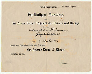 Urkunde - Besitzzeugnis Eisernes Kreuz - Jasta 21 - Jagdstaffel - Sachsen - EK2