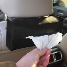 Sun Visor Car Artificial Napkin Paper Tissue Box Holder Leather Black