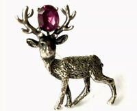 Vintage Exquisite Silver Metal Amethyst Paste STAG HORN DEER Brooch GIFT BOXED