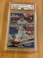 2017 Topps OPENING DAY MIKE TROUT RAINBOW BLUE FOIL #75 PSA 9 MINT