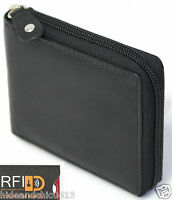 RFID Security Lined Zip-Around Leather Wallet Full Grain Cow Hide Leather. 11011