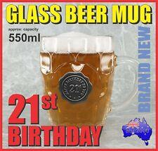 21st BIRTHDAY GLASS BEER MUG STEIN TANKARD 550ml WITH HANDLE HOME BAR GREAT GIFT