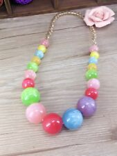 Nice candy color rainbow beads elastic necklace summer style