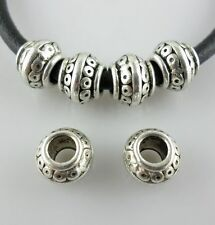 14pcs Tibetan Silver Hole 4mm Spacer Beads 7x8mm Fit European Charm Bracelet
