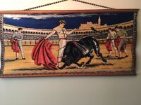 Vintage Velvet Tapestry Rug Wall Hanging Matador with  Bull Spain