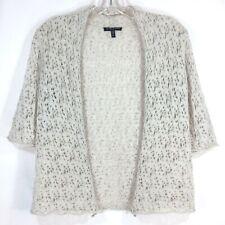 EILEEN FISHER Size PP Crocheted Italian Wool Open-front Cardigan Sweater BEIGE