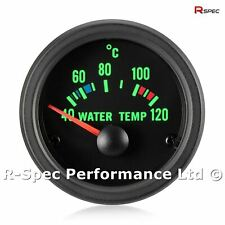 52mm Green Traditional Black Face Water Temp Temperature Gauge Kit - With Sensor
