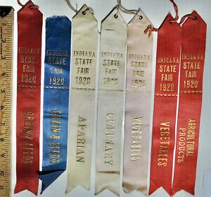 1920 Indiana State Fair Award Ribbons Aparian Culinary Vegetables Grain Seeds 7