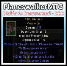 D2 D2R Diablo II Resurrected (PC) ✰ Soul Drainer ✰ 7/6 Dual Leech -50 Monster D