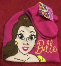 Disney Princess Belle Beanie Hat And Gloves Mittens Unisex Pink