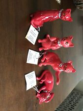 Red Glass Cat Figurines