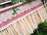 SHABBY~Modern Farmhouse Country Cottage Window Curtain Valance~Plaid~RED&Beige~