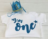 Baby Boys Cake Smash Outfit Set First 1st Birthday Blue Crown Hat & Top Vest