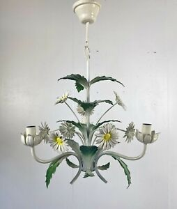 Vintage Continental Italian Toleware Chandelier Ceiling Lamp Light Retro White