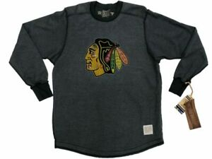 """Chicago Blackhawks Retro Brand Gray """"Inside Out"""" Thick Knit LS Crew T-Shirt (S)"""