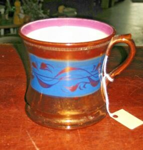 "Large Antique Staffordshire Blue Band Pink & Copper Luster Mug 19th c 4.5""w"