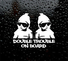 DOUBLE TROUBLE ON BOARD LITTLE DUDE DECAL FOR CAR/VAN TWINS VINYL STICKER FUNNY