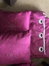 Pink Curtains 220 X 220 Cm With Swarovski Crystals & 2 Cushions