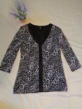 VGC GNW womens blouse 3/4 sleeve cheetah BLK/WHT/GRY sz LG office school evening