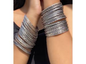 Indian Tribal Bangles (Set of 64) Silver Look Alike Churis Ethnic Women Jewelry