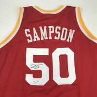Autographed/Signed RALPH SAMPSON Houston Red Basketball Jersey Tristar COA Auto