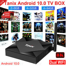 TANIX TX6S Android 10.0 Quad Core 8K Smart TV Box Dual WiFi 2.4/5GHz 100M BT 4
