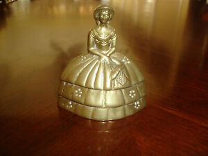 """VINTAGE BRASS  LADY WITH BASKET BELL WITH CLAPPER ~ 4"""" TALL"""