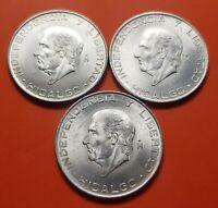 3 monedas x MEXICO 5 PESOS 1955+1956+1957 HIDALGO KM.469 PLATA SC- 1,25 ONZAS R1