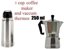 Stove Top Espresso Coffee Maker cuban 3 Cups Cafetera Cubana and Thermos 250 ml