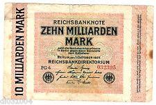 GERMANY Allemagne Billet 10 MILLIARDEN MARK 01/10/ 1923  P117 BON ETAT