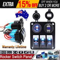 12V 24V 3 Gang LED Rocker Switch Panel Circuit Breakers Charger For Boat Marine