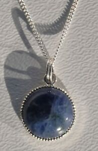 """Sodalite Gem Necklace Sil Plate Pendant with 16 or 18"""" Sterling Silv Curb Chain."""