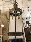 Large Antique Ecclesiastical Neo Gothic Pendant Chandelier Light Quatr