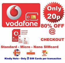 NEW 20p Vodafone PAYG Standard Micro & Nano Triple SIM Card Pay As You Go