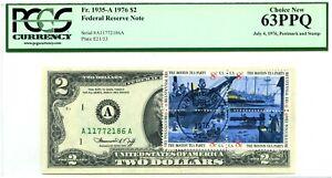 $2 DOLLARS 1976 STAMP CANCEL BOSTON TEA PARTY LUCKY MONEY VALUE $3000