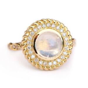 Elegant 18k Yellow Gold Plated Rings Women Moonstone Wedding Rings Sz 6-10