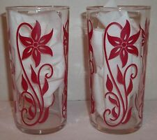 2 Federal glassware tumblers, Clear glass tumbler has red flowers, Floral design