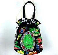 Vintage Beaded Puerto Rico Drawstring Shoulder Bag PurseBlack Neon Green Yellow