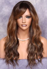 Long Auburn mix Human Hair Blend Full Wig wavy Heat Safe WBUK 7002