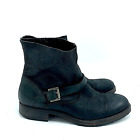 Hinge black leather ankle boots size 10 biker goth steampunk