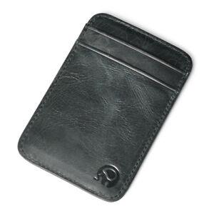Men Genuine Leather Front + Back Pocket Slim ID Credit Card Money Holder Wallet