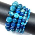 "Handmade Round Beaded Bracelet Natural Gemstone 7.5"" Elastic Healing 4 6 8 10 12"