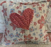 NEW Handmade Heart Pillow Vintage Quilt Old Chenille Bedspread Super Cute!!