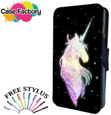 MAGICAL RAINBOW STARS UNICORN HORSE - Leather Flip Wallet Phone Case Cover