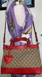 Gucci Valentine Heart Charm GG Beige Canvas & Red Leather Medium 2Way Tote Bag