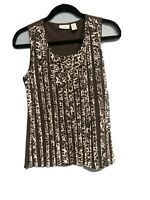 Easy Wear By Chicos Womens Size 0 Brown Leopard Sleeveless Stretch Tank Top