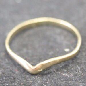 100% Genuine Vintage 9k Solid Yellow Gold V Wishbone Plain Band Ring  5.75 or L
