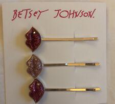 Betsey Johnson 3 Piece Rose Gold Tone Glitter Lips Bobby Pins Set NWT