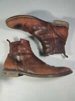 Aston Grey Helani Brown Leather Chelsea Side Zip Ankle Boots Mens 13 M